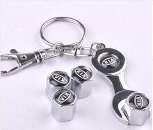 New Mini Wrench & Key Rings Keychain with 4pcs Car Wheel Tire Valve Caps  For KIA Car-Styling