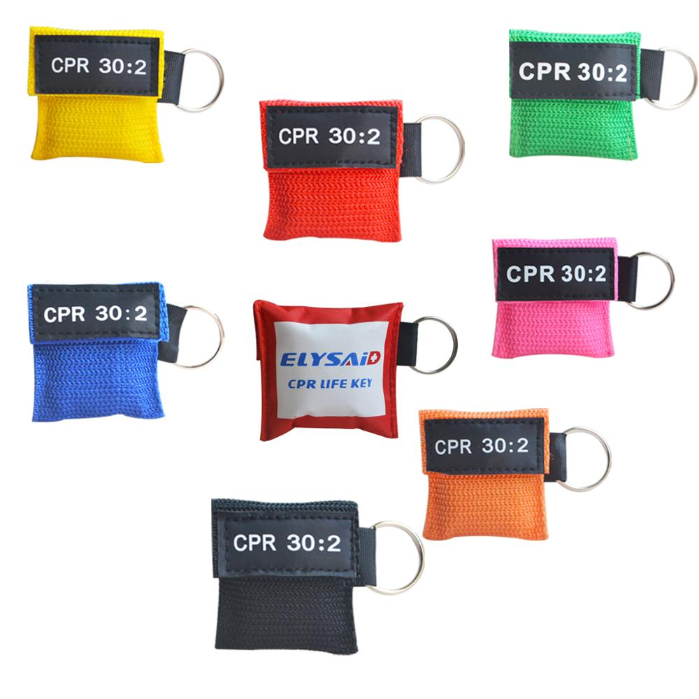 100Pcs Lot CPR Resuscitator Mask With Keychain CPR Face Shield AED CPR Key Waiting CPR 30