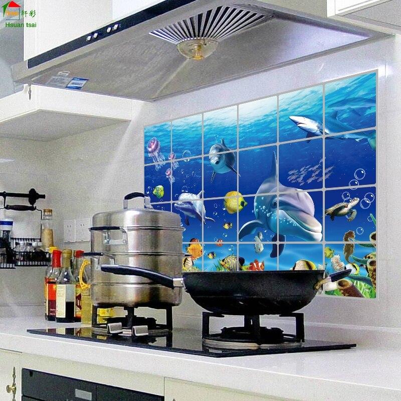 Mundo submarino de la cocina decoración del hogar adesivo de parede adhesivos 3d