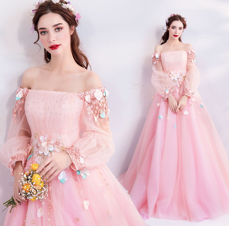 Pink Prom Dresses 2020 Lace Appliques Crystal Tulle Long Sleeves Boat Neckline A-line Evening Gowns Vestidos Longos De Formatura