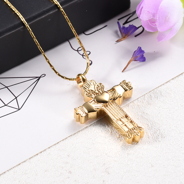 CMJ9956 High Grade Gold Cross Cremation Pendant Urn Necklace for