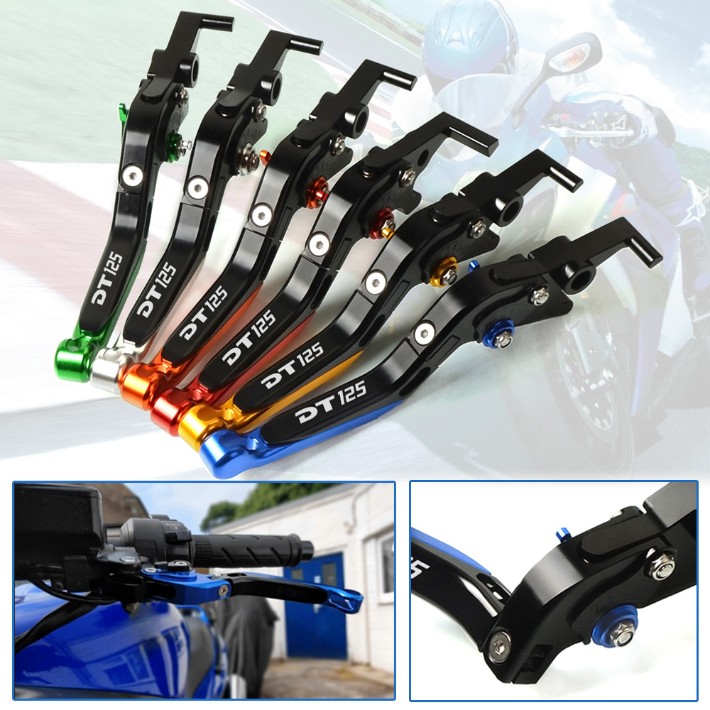 LOGO DT 125 For YAMAHA DT125 1995 CNC Motorcycle Accessories Adjustable Lever Folding Extendable Brake Clutch Levers 6 Colors adjustable folding extendable brake clutch lever for kawasaki versys 1000 versys1000 14 15 free shipping with logo motorcycle