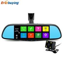 7 pulgadas Táctil Cámara Del DVR Del Coche Espejo Especial Android 4.4 GPS navegación Bluetooth 16 GB FHD 1080 p de Doble Lente Video Recorder Dash Cam
