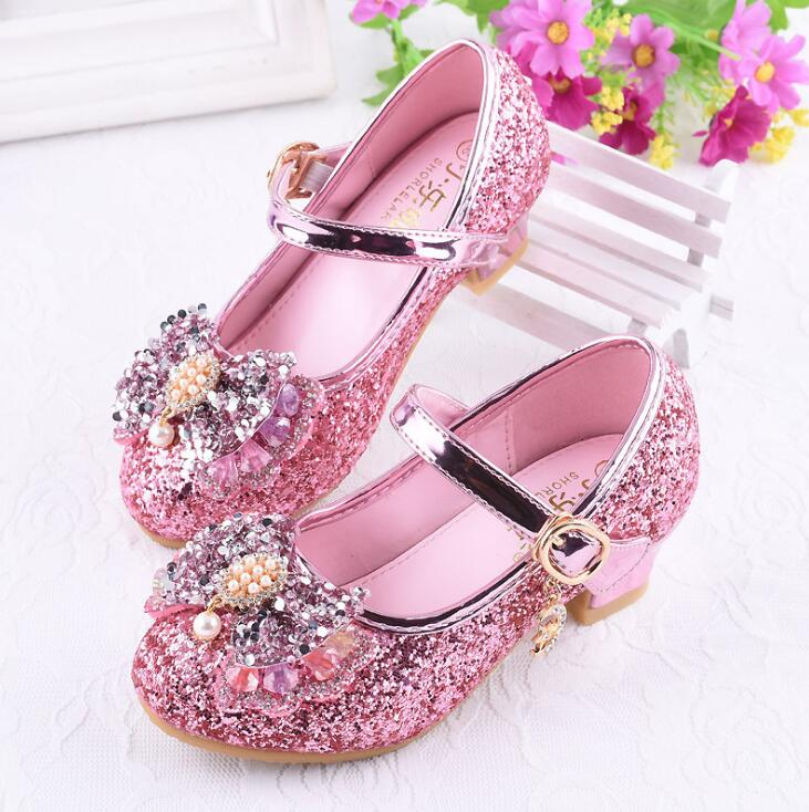 2019 Girls Leather Shoes For Kids Rhinestone High Heel Princess Shoes Girls Autumn Spring Rubber Party For Children Size 26-362019 Girls Leather Shoes For Kids Rhinestone High Heel Princess Shoes Girls Autumn Spring Rubber Party For Children Size 26-36