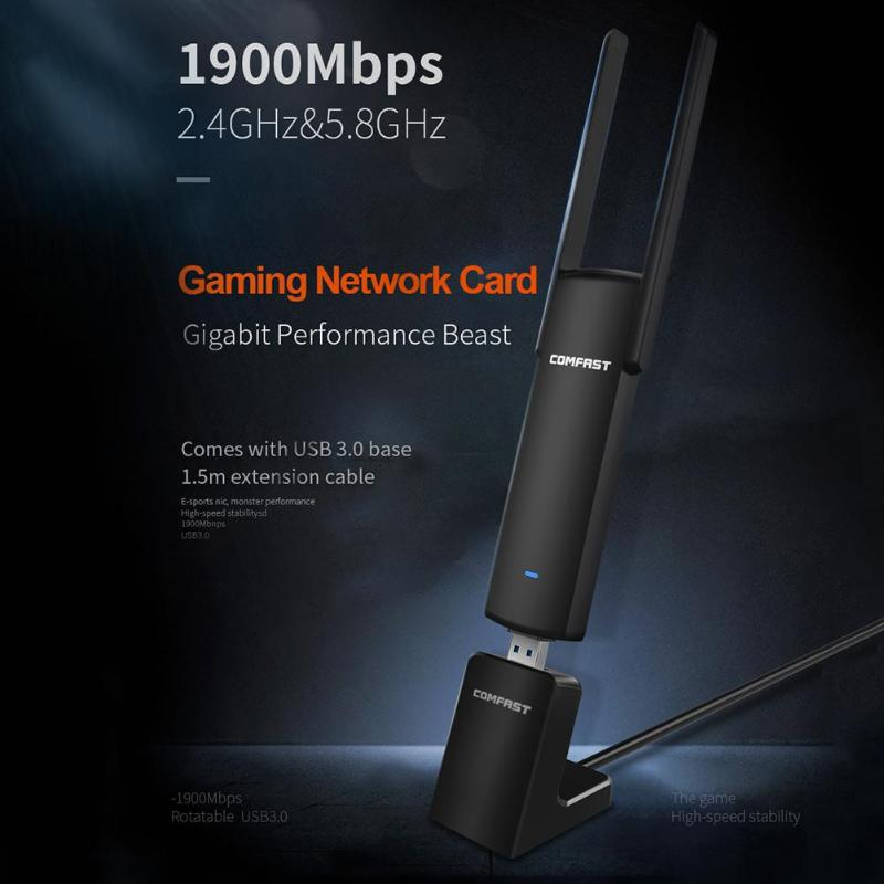 COMFAST CF-939AC 2.4G/5.8GHz Dual Band Support 802.11ac/a/b/g/n 1900Mbps USB 3.0 WI-FI Wireless Adapter Base AP Network Card купить в Москве 2019