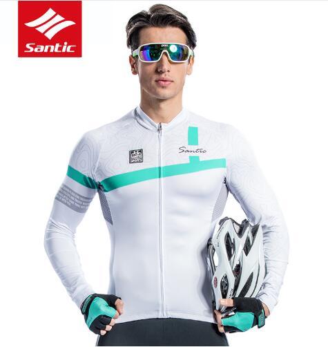 Santic hommes à manches longues cyclisme maillots Pro Fit vtt route haut vélo Jersey été automne respirant plein air Sport équitation vêtements