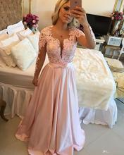 2017 Long Sleeve Chiffon Lace Prom Dresses Pink Deep V Neck Appliques Pearls Beaded Top Taffeta Formal Party Evening Gowns EG62