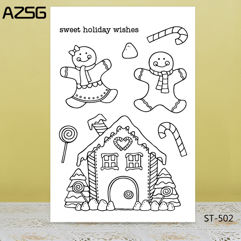 AZSG Smile Doll Lollipop House Clear Stamps/Seals For DIY Scrapbooking/Card Making/Album Decorative Silicone Stamp Crafts