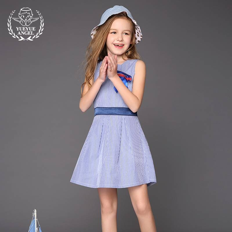 New Summer Fashion Ruched Pink Party Dresses Sweet Robe Fille 2018 Sarafan Casual Comfort Striped Bowknot Girls Blue Vest Dress рюкзак hama sweet owl pink blue