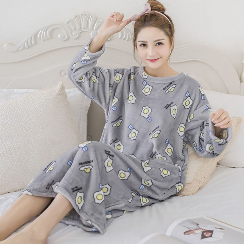 Thick Warm Flannel Nightgown Night Dress For Women 2019 Autumn Winter Long Sleeve Print Coral Velvet Nightdress Nightwear Nighty