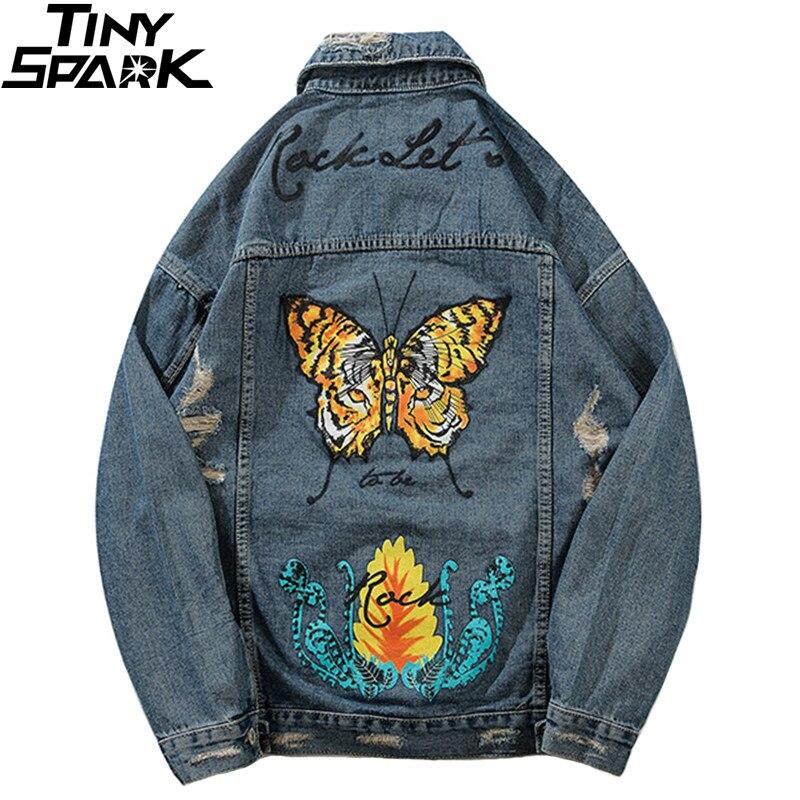 Detalle Comentarios Preguntas sobre Chaqueta de mezclilla para hombre  apenado Hip Hop Vintage Ojo de Tigre mariposa chaqueta Ripped Jeans Holes  Denim ... d0d94a7ff7b