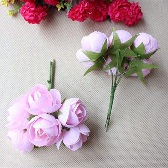 Online Shop 3CM Artificial Flower Bouquet,Ribbon Rose Bouquets For ...