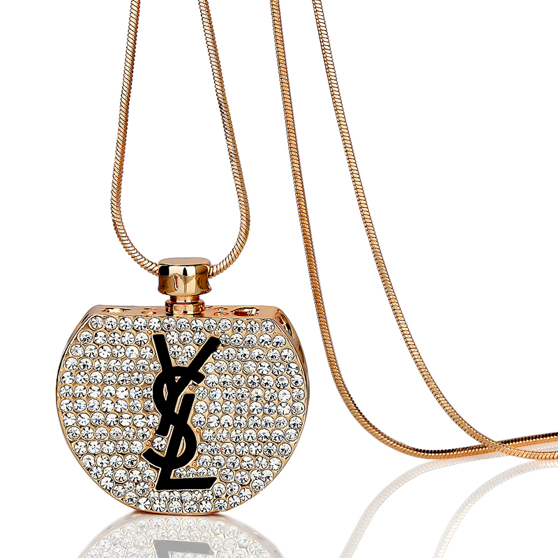 Cheap Necklace women's fashion perfume bottle crystal letter necklace long design vintage all-match jewelry