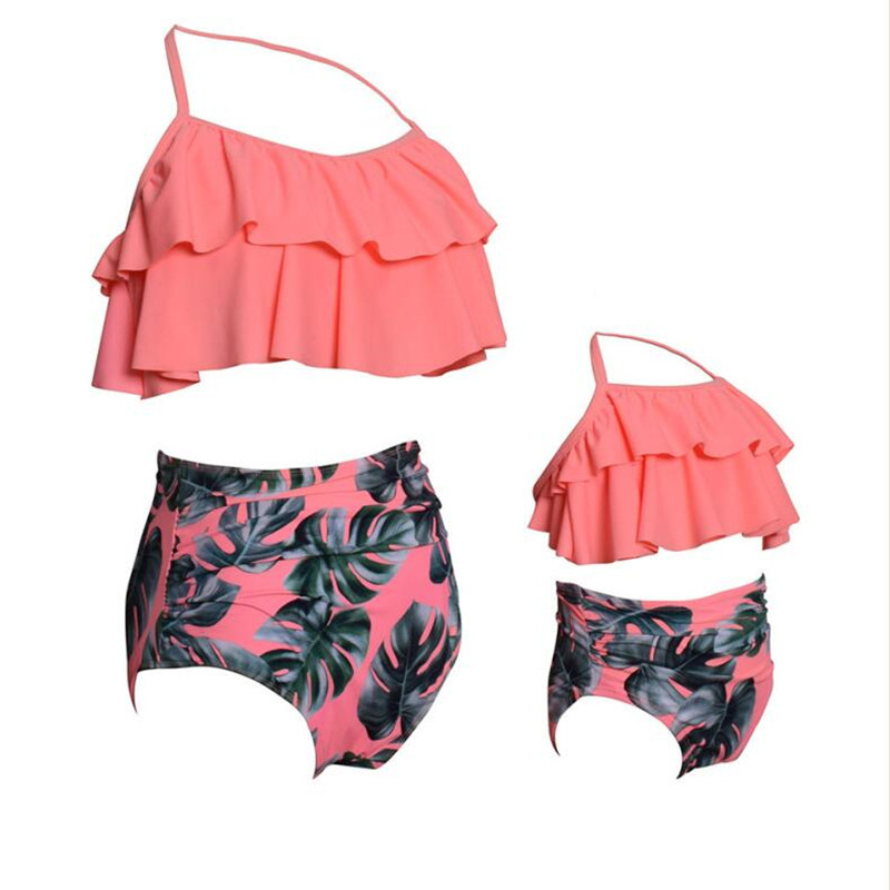 New Family Matching Swimwear Spa Mom Daughter Swimsuit Mother Daughter Bikini Bathing Suit Kids Swimwear Family Matching Outfits (4)