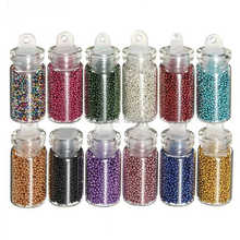 12 Colors Caviar Nails DIY Colorful Glitter Bead Glass Circle Beads 3D Nail Art Decoration Hot 6185 s6oc
