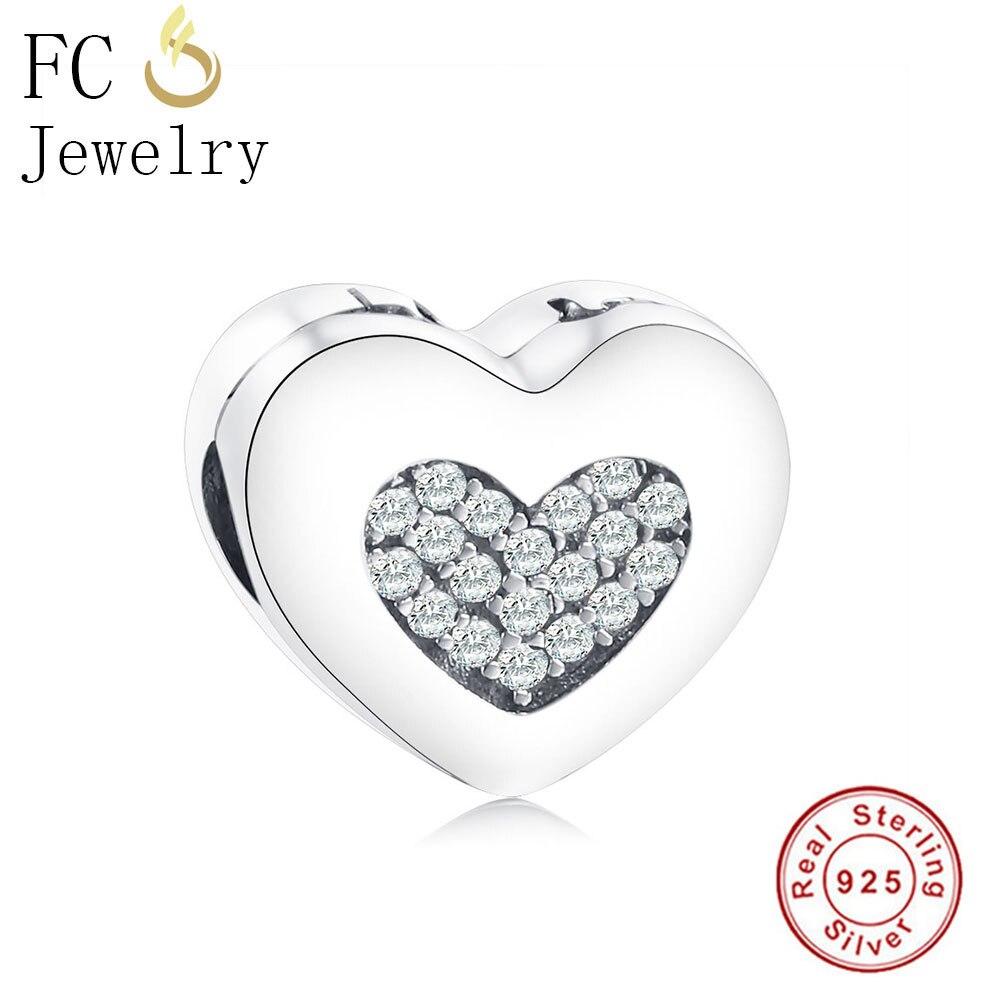 FC Jewelry 925 Sterling Silver European Stopper Charm Beads Heart Lock Clip Original Fits Pandora Charms Bracelets DIY Berloque