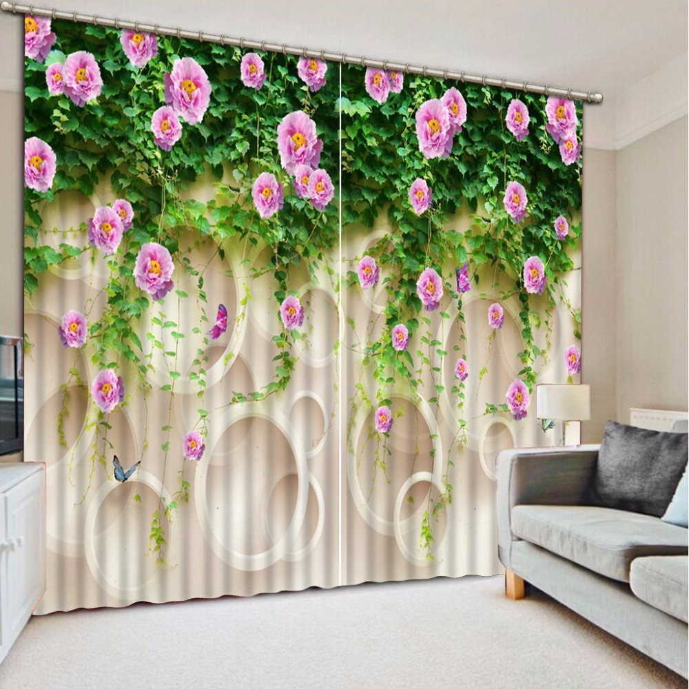 European Window Curtains Rose 3D Curtains For Living Room Bedroom Circle Printing Flower Vine Blackout Drapes Cortinas