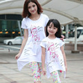 Family clothing sets 2014 summer Cartoon cat T-Shirt + Floral Pants 2 PCS set Mother and daughter Girls clothing set