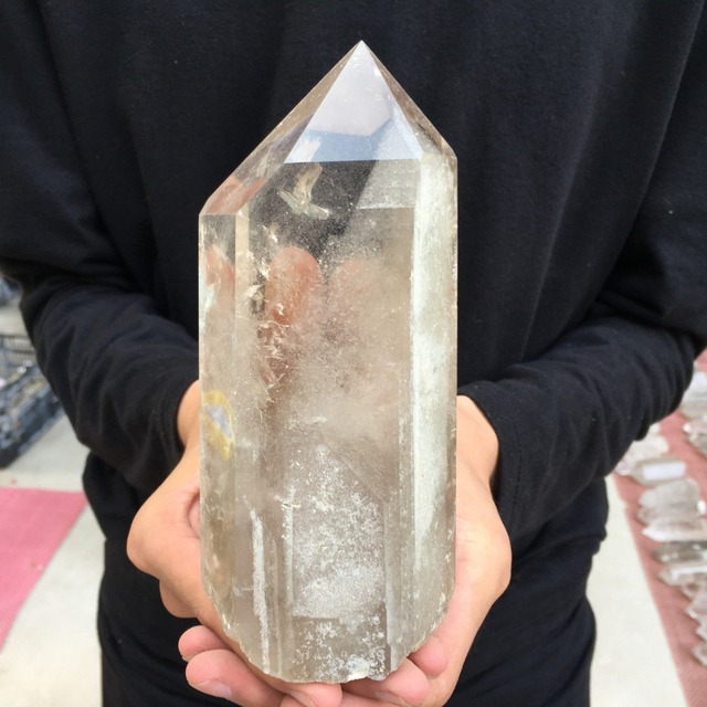 HUGE 897g 1.98LB Natural Clear Smokey Crystal Quartz Obelisk wand point Pyramid fengshui crystals