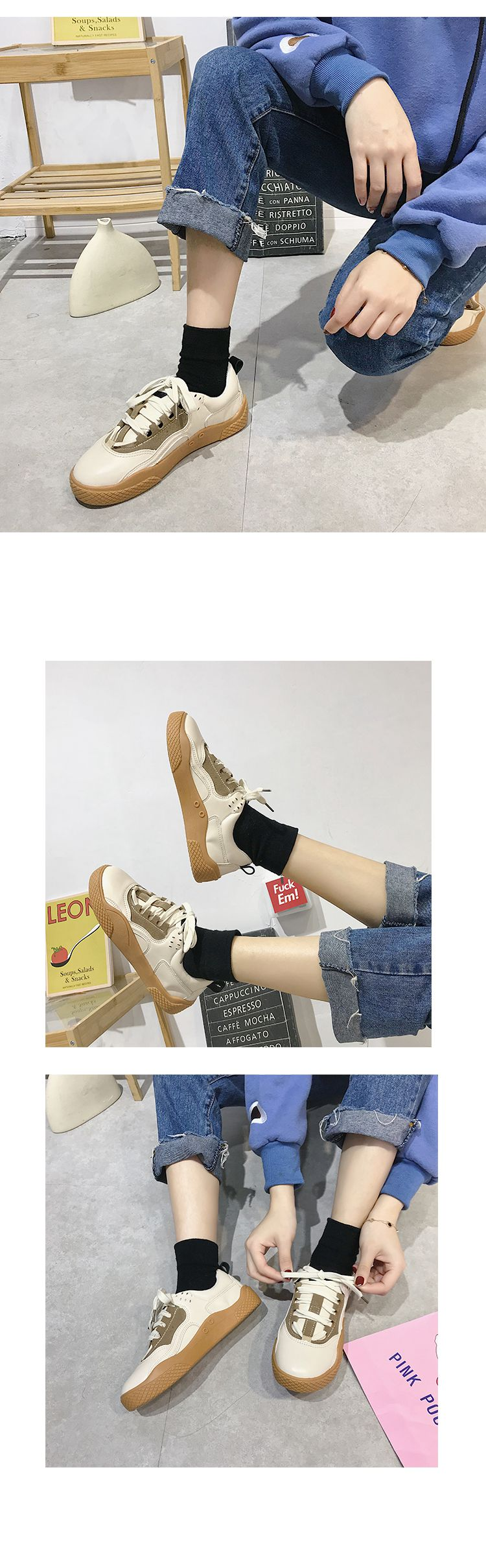 2019 Women Sneakers Leather Hook Loop All Match Female Casual Shoes Concise Style Lady White Shoes Students New Fashion 35-39 25