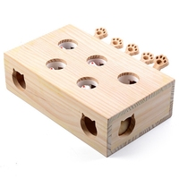Solid Wooden Cat Toy Puzzle Interactive Toys Whack A Mole Shape Hamster Funny Wooden Box For Playing Cat Supplies
