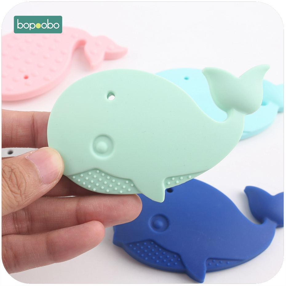 Bopoobo 1pc Silicone Whale Teether Can Chew DIY Accessory Nursing Toys Teether Pendant For Necklace Bracelet Baby Teether