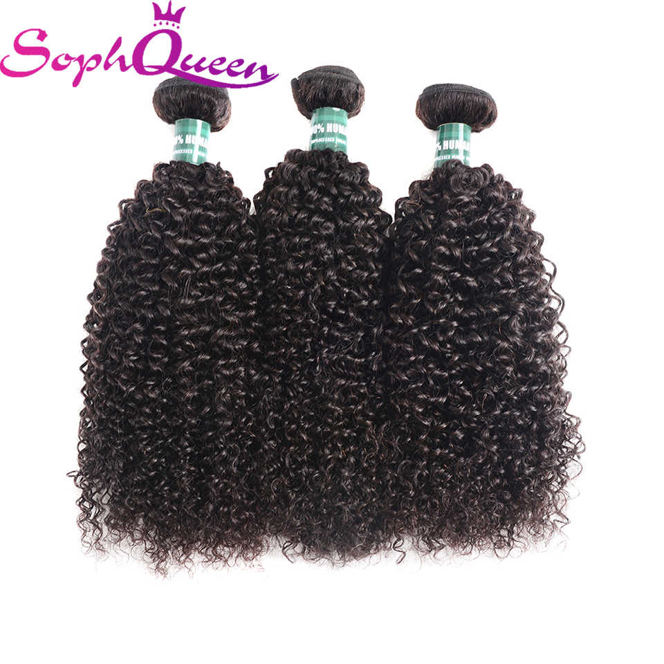 Soph Queen Hair Malaysian Kinky Curly Hair Bundles Weave 100% Human Hair Bundles Remy Hair Extensions