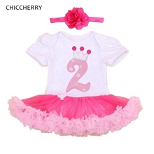 Baby Girl Summer Clothing Sets 2nd Birthday Outfits Lace Rompers Headband Toddler Tutu Set Infant Clothing Girls Clothes