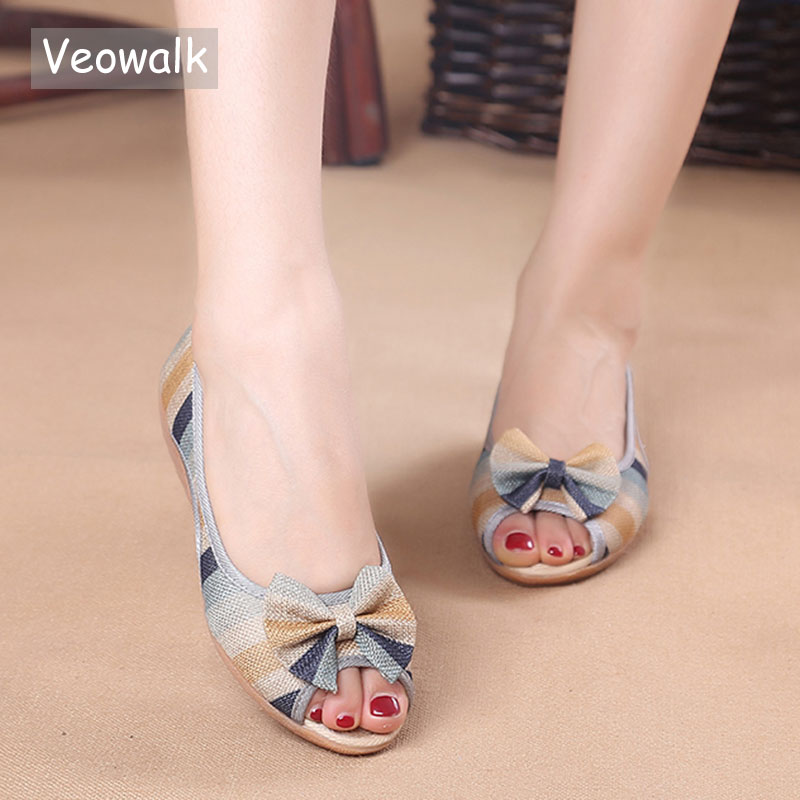 Veowalk Rainbow Striped Women Peep Toe Flat Shoes Slip On Cotton Fabric Linen Comfortable Old Peking Ballerina Flat Shoes цена