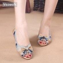 Veowalk gökkuşağı çizgili kadın Peep Toe düz ayakkabı kayma pamuk kumaş keten rahat eski pekin balerin düz ayakkabı