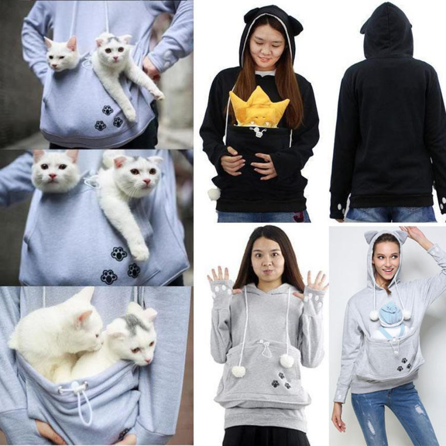 Best Choice Kangaroo Pet Dog Cat Holder Carrier Pouch Large Pocket - Hoodie with kangaroo pouch is the perfect cat accessory