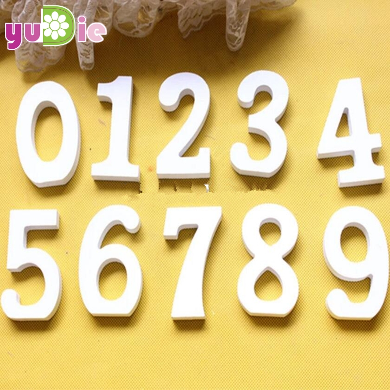 1pcs Wooden Number Letters White Wood digital Wedding Table Numbers Decoration Craft Home Birthday Party Events Supplies Kids