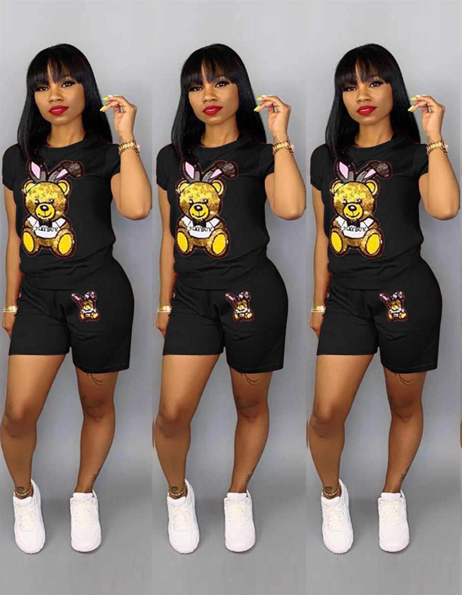スパンコール漫画ツーピースショートプラスサイズのセット女性カジュアルトラックスーツ夏のファッションショートパンツスパンコール 2 服 q5090