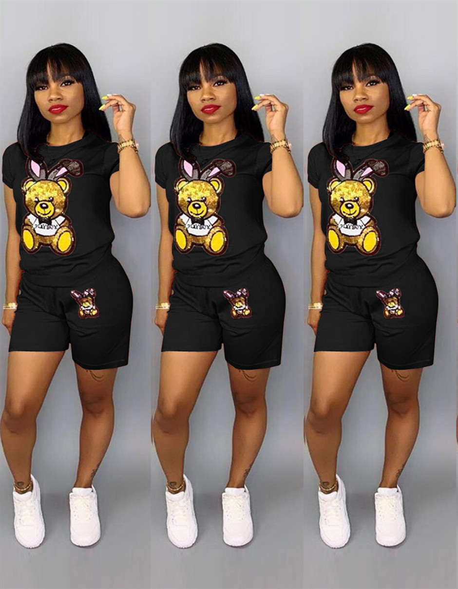 Tracksuits 2 Piece Sets Women Summer Sequin Cartoon Fashion T-Shirts Tops Shorts Set Fashion Lounge Sportwear Outfits