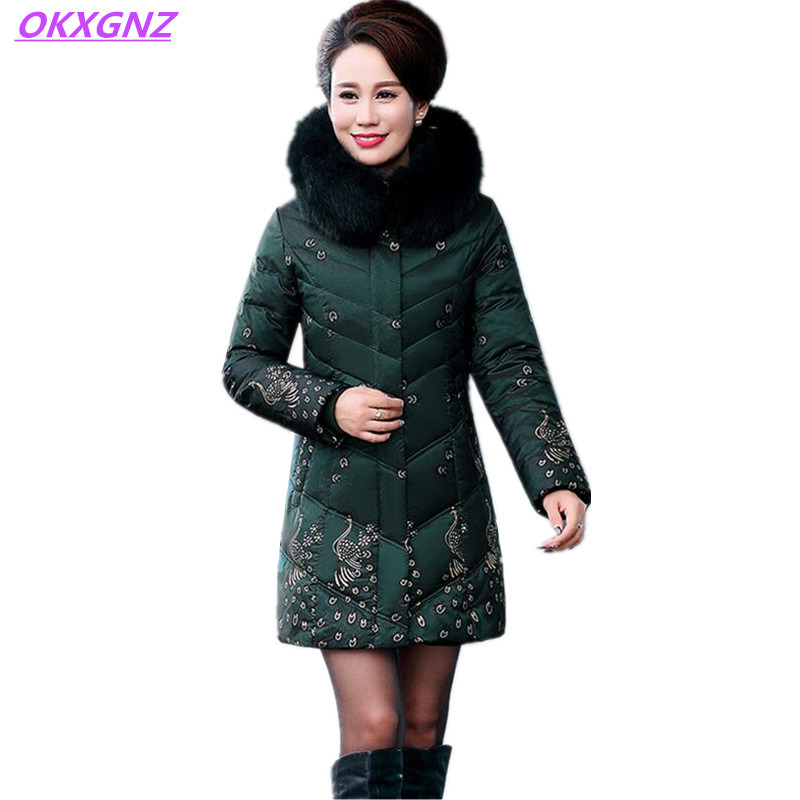 Middle aged Women Down Cotton Parkas Winter Mother Jackets Print Hooded Fur Collar Thicker Warm Coats Plus Size 5XL OKXGNZ AH009 2018 high grade middle aged down fox fur collar winter jacket hooded coats large size thick warm parkas women long outerwear 6xl