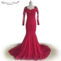 Robe Dubai Rood Kant Avondjurk lange Mouwen Mermaid Avondjurk 2017 Elegant Applique Lange Mouwen Bourgondië Prom Dresses