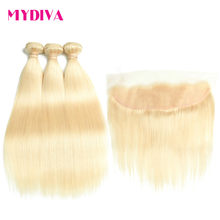 Brazilian Straight Hair Bundles With Lace Frontal Closure 613 Blonde Human Hair 3 Bundles With Closure Remy Extension Mydiva(China)