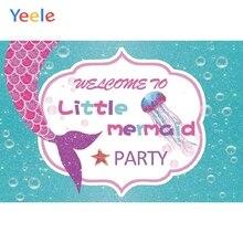 Yeele Vinyl Fish Mermaid Princess Baby Girl Birthday Party Photography Backdrop Children Photographic Background Photo Studio