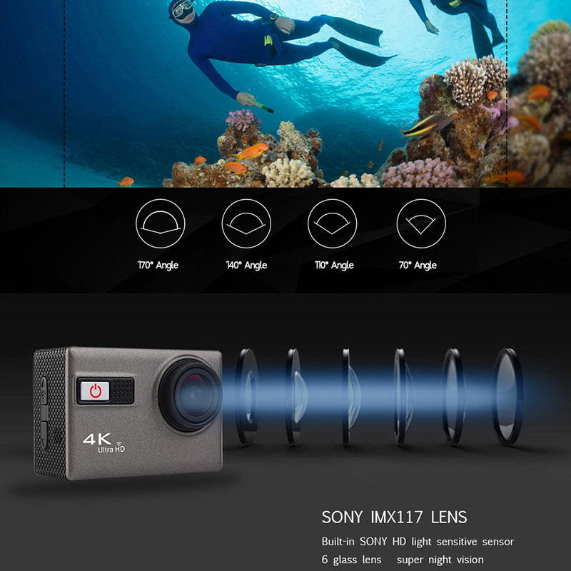 F68 WIFI Action Camera 4K/24FPS 1080p UHD 2.0 LCD Screen pro Helmet Cam Waterproof 170 Degree Sport Camera DV Car Camcorder 4k 30fps action camera wifi 1080p uhd 2 0 lcd screen 30m waterproof diving 170 degree sport action camera dv camera