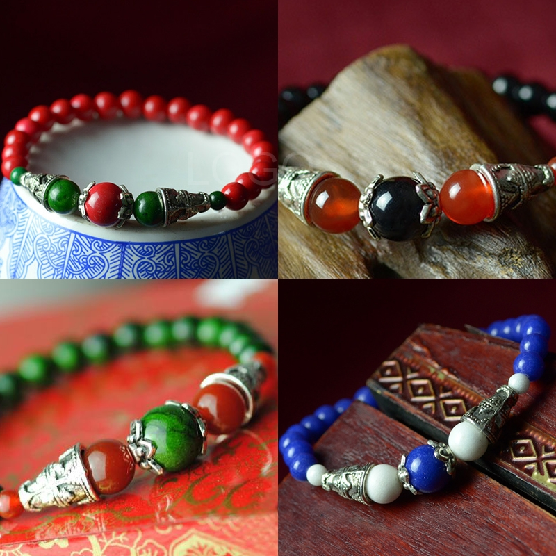 New style Women Bracelet Chinese Style Craft Agate Bead Bracelet with Miao Silver for first service