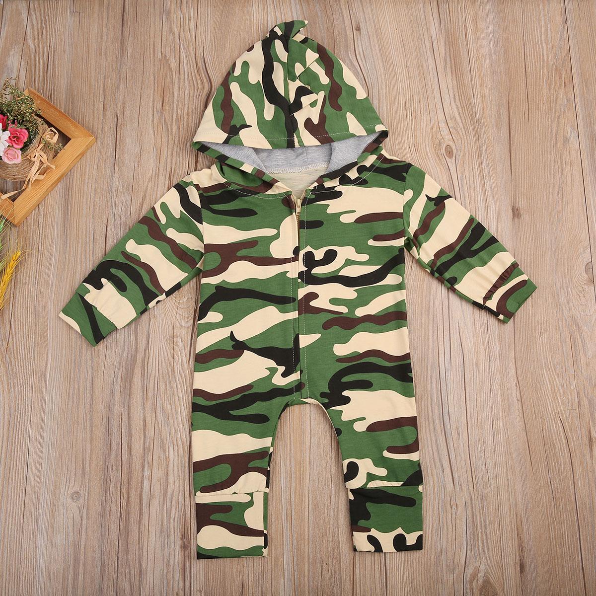 Newborn Anak Bayi Laki Perempuan Kapas Baju Monyet Lengan Panjang Jumpsuit Katun Lucu Outfit Pakaian Army Hijau Di Romper Dari Ibu