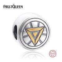 FirstQueen 925 Ayar Gümüş Yuvarlak Altın Renk Üçgen Sembolü Boncuk Charm Bilezik Fit Takı Yapımı Parti Doğum Günü
