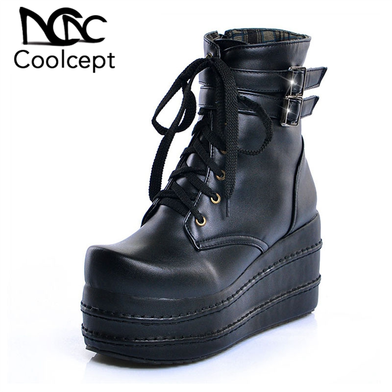Coolcept Size 31-50 Women High Heel Boots Round Toe Platform Zipper Ladies Shoes New Design Fashion Short Boots Women FootwearCoolcept Size 31-50 Women High Heel Boots Round Toe Platform Zipper Ladies Shoes New Design Fashion Short Boots Women Footwear