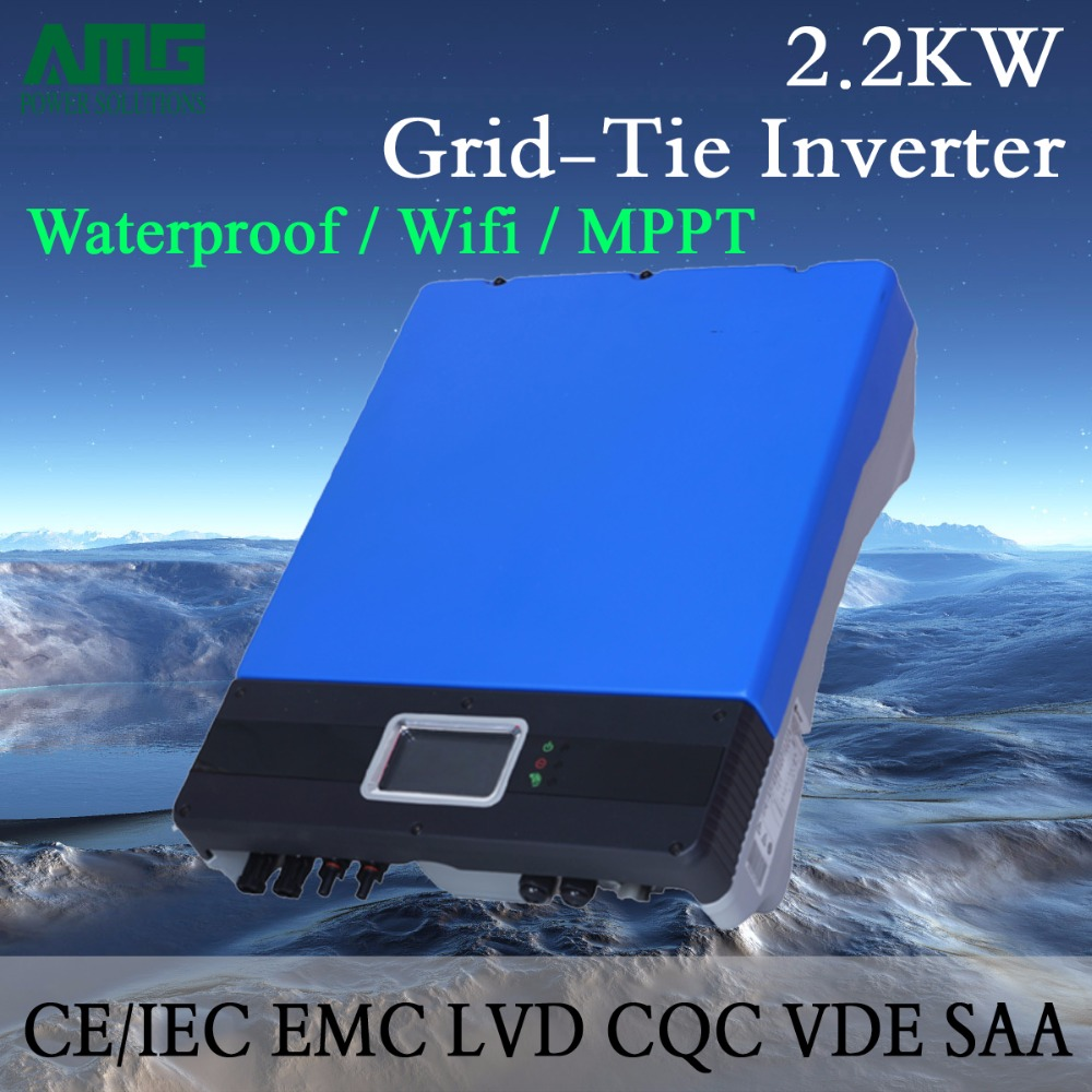 2KW(2200W) Dual Input Single MPPT Waterproof IP65 On Grid Tie Solar Power Inverter Wifi Default Conversion, GPRS optional 5000w single phrase on grid solar inverter with 1 mppt transformerless waterproof ip65 lcd display multi language