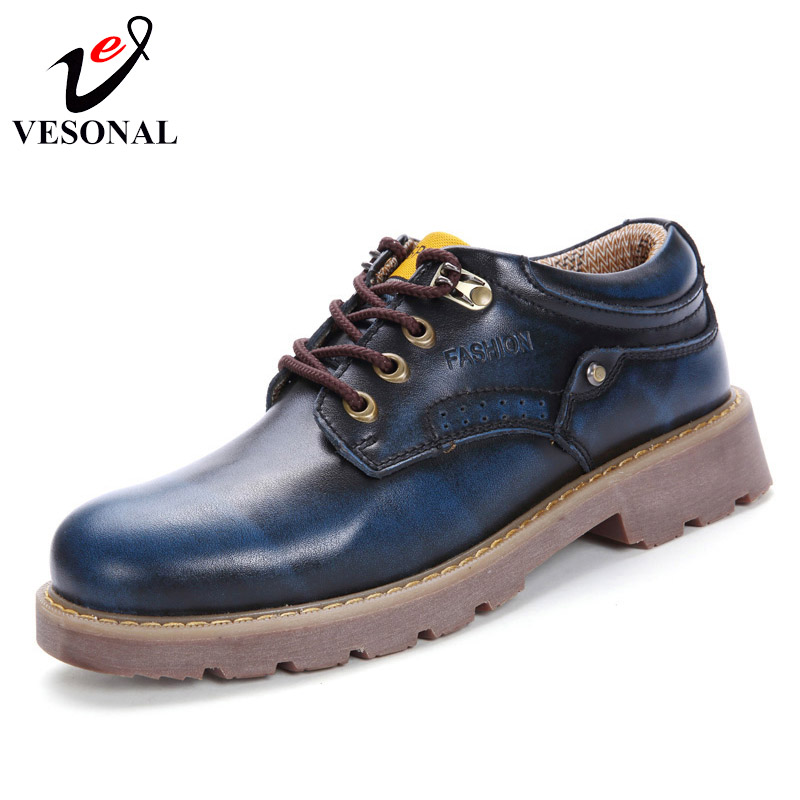 VESONAL Spring Autumn Genuine Leather Male Shoes For Men Adult Fashion High Quality Popular Mens Footwear
