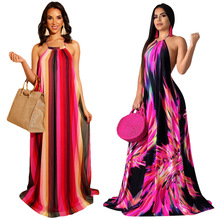 2019 Summer Womens Beach Sexy Halter Back Open Stripes Print Open Back Floor Length Maxi Dress Vacation Long Dresses Loose S3505
