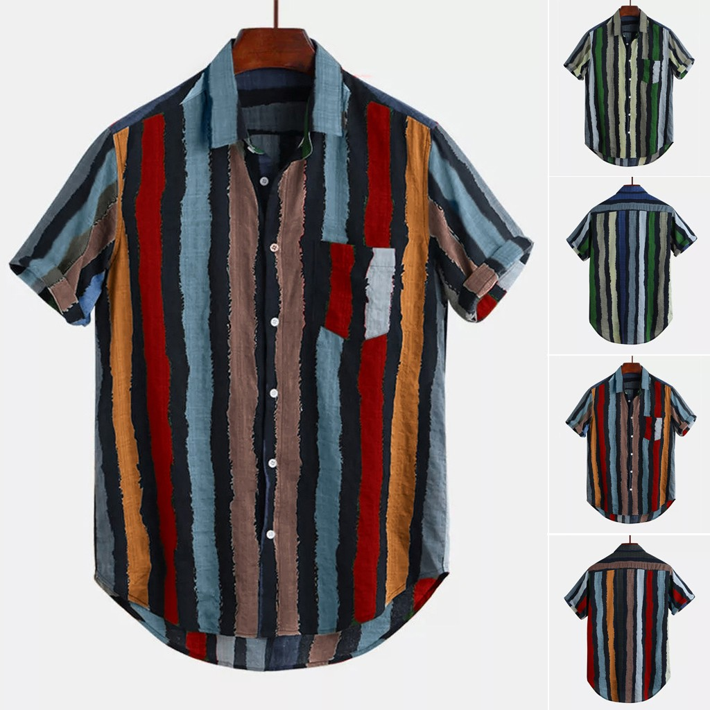 Mens Loose Multi Color Stripe Lump Chest Pocket Short Sleeve Round Hem Shirts M-3XL