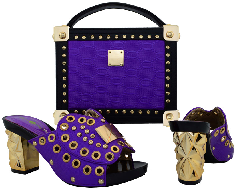 ФОТО Latest Purple Shoe and Bag Set for Woman Italian Matching Shoe and Bag Set African Wedding Shoe and Bag Set Nigerian PartyBCH-21
