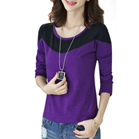 2016 Autumn Fashion Patchwork Ladies Shirts Korean Style Tshirt Green Purple Plus Size M 4XL