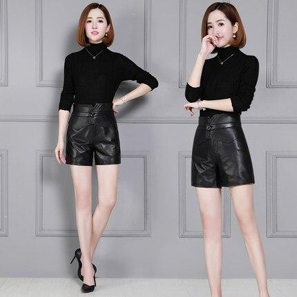 2019 New Fashion Women Genuine Sheep Leather Shorts KS27